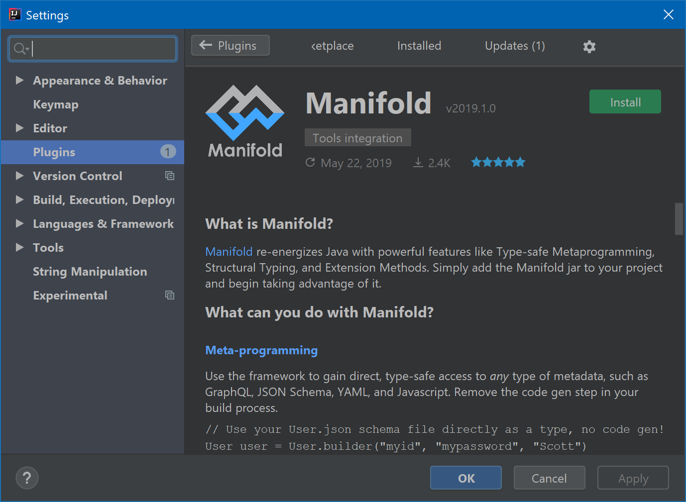 Manifold - supplements Java with game-changing features like Type